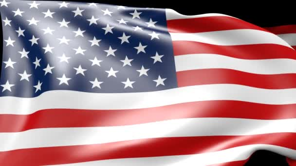 3d animation of american flagg, moving in wind, can be used as background