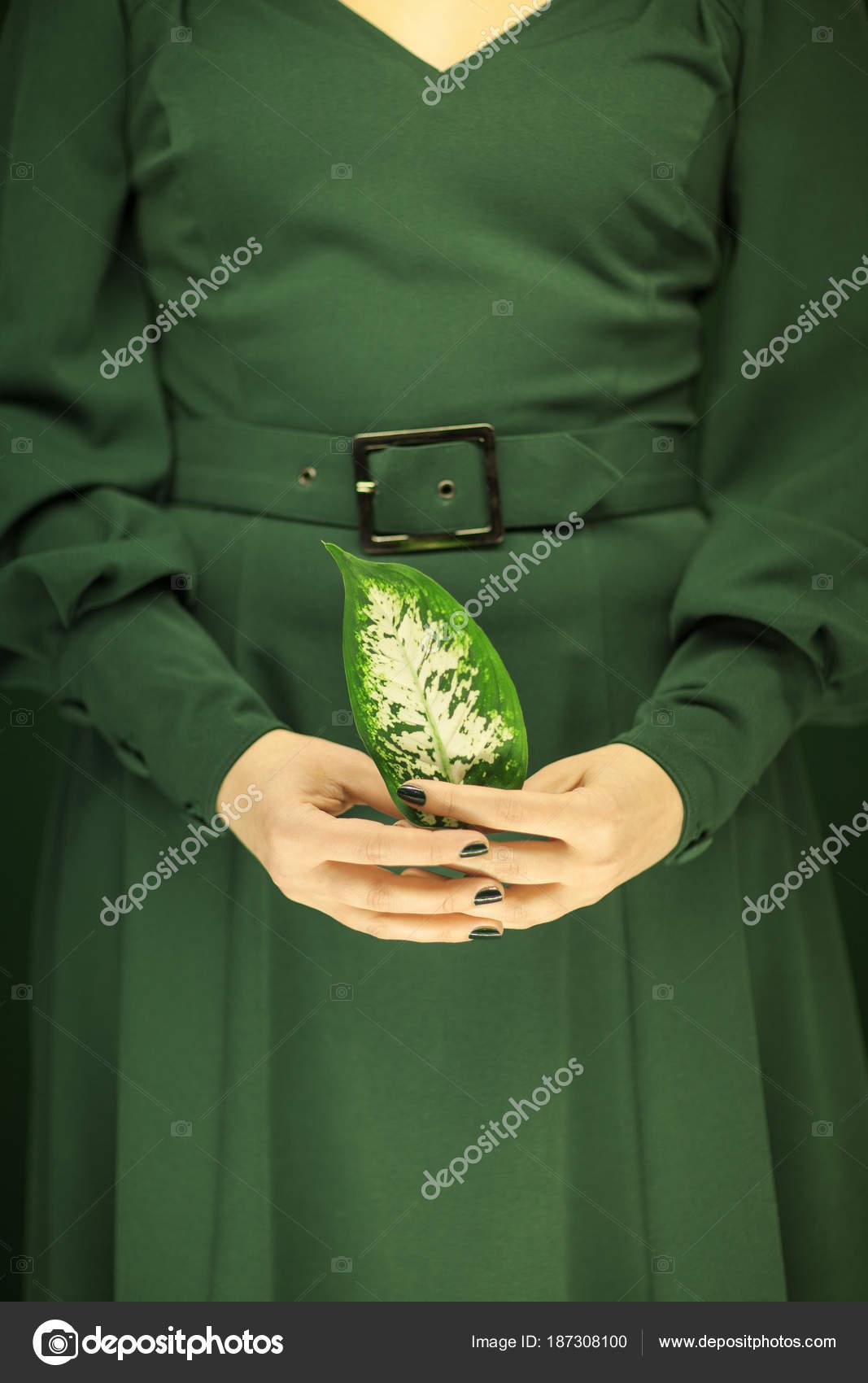 Vestido Mujer Verde Años Manos Sosteniendo Unas Hojas Tropicales ...