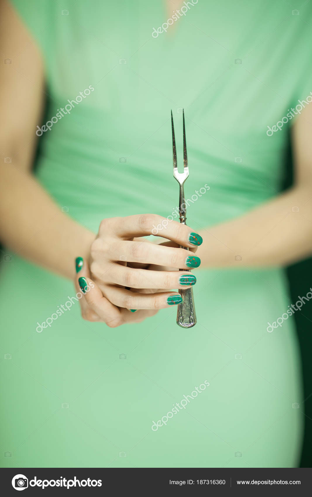 Figura Mujer Hermosa Dama Honor Vestido Verde Claro Con Tenedor ...