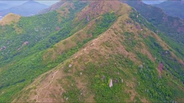 vrcholy horského hřebene s lesní svahy