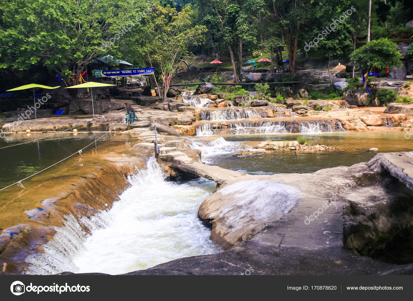 Group Of Waterfalls Ponds In Tropical Park Stock Photo