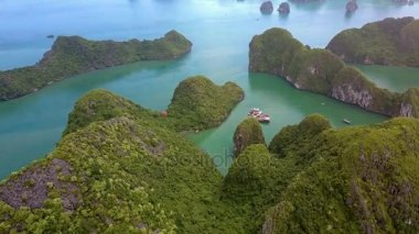 amazing aerial view narrow winding Ha Long bay with rocky green shores deeply cuts in dry land