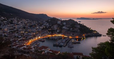 twilight of Hydra island, Greece