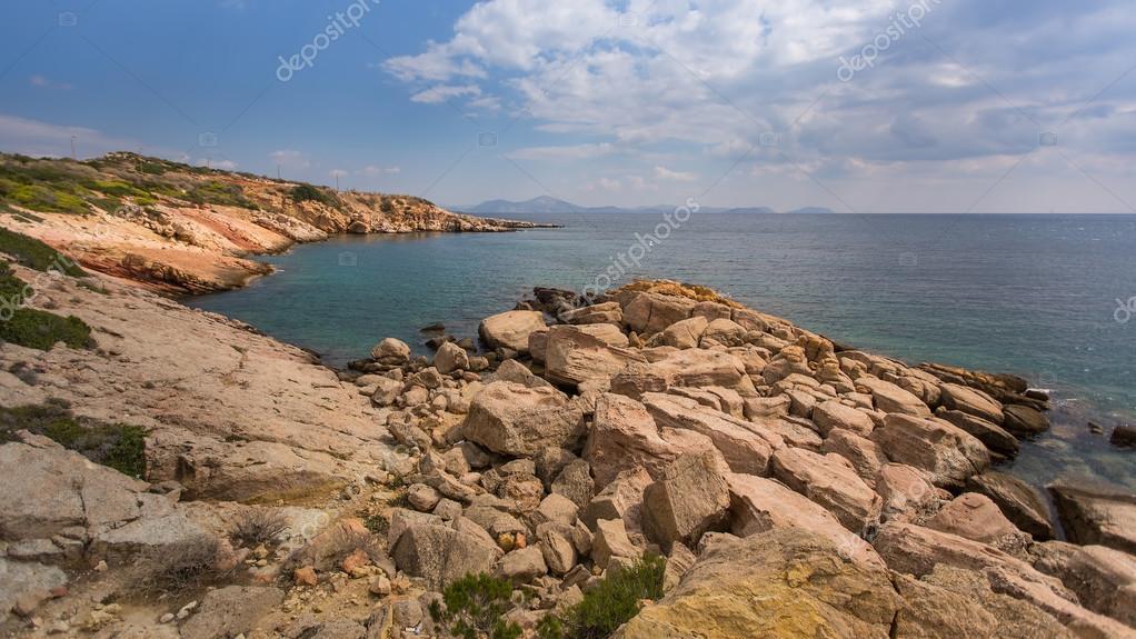 Rocky coast of the Aegean sea
