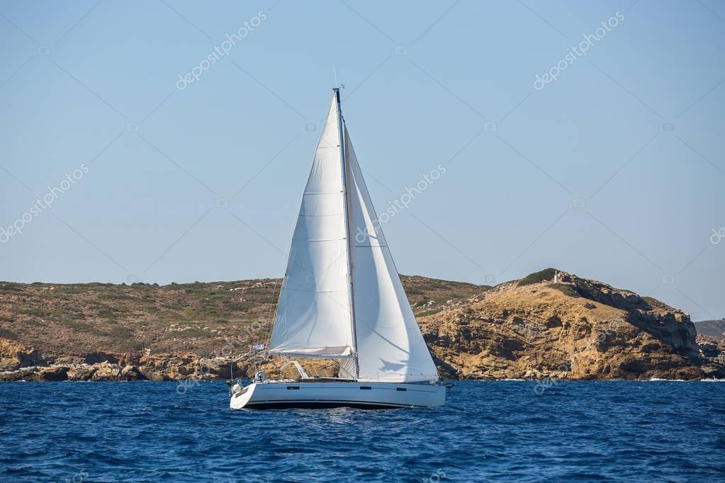 Sailing boat in the waters of the Aegean Sea