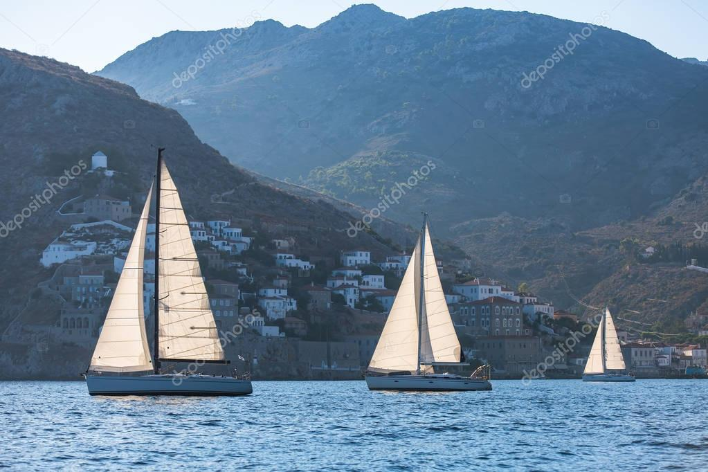 Luxury yachts at sail regatta