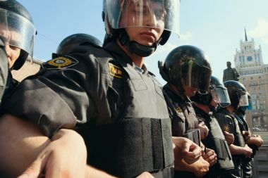 Riot police officers during protests
