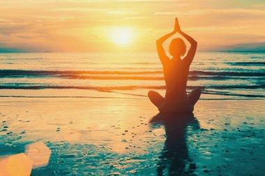 Meditation yoga silhouette