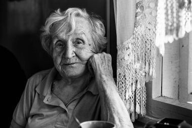 elderly woman in her home.