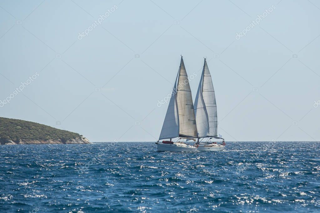 Boats in sailing regatta