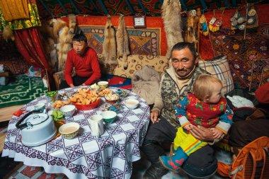 Kazakhs family of hunters