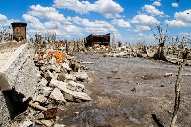 Terk edilmiş hayalet şehir. Arjantin ölen şehir kalıntıları.