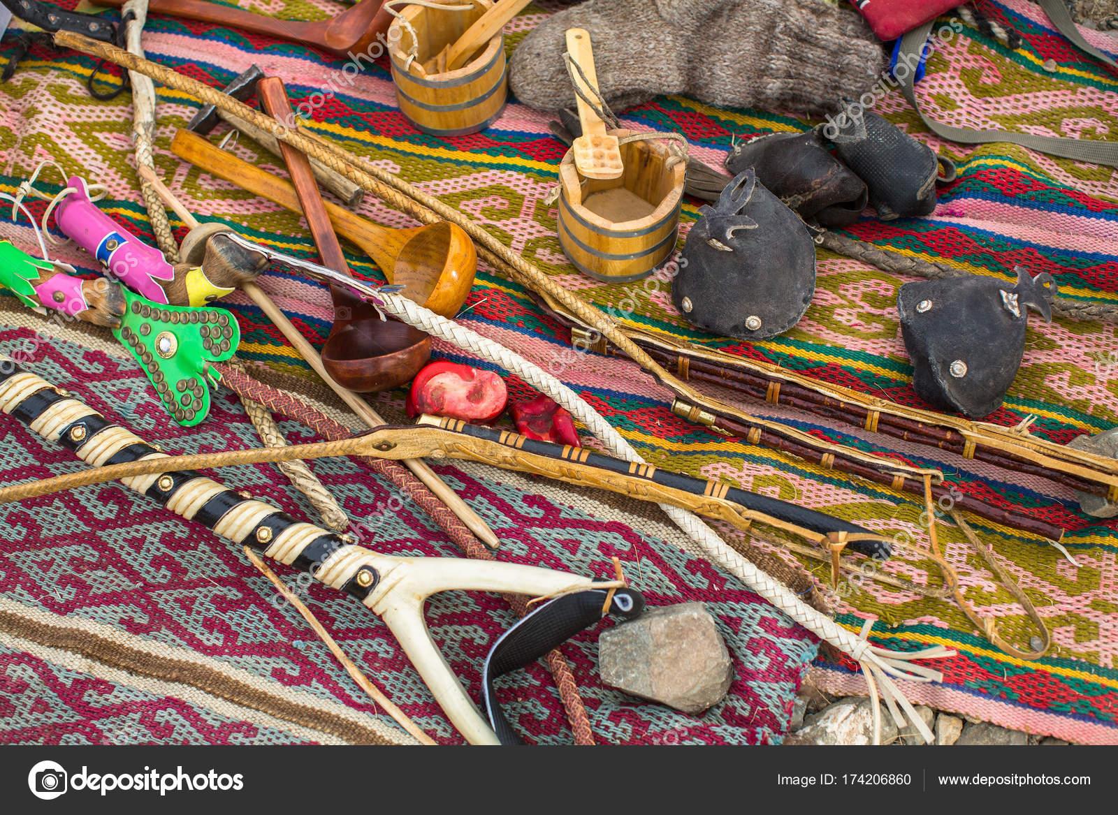 Mongolian Handicrafts Selling Street Market Stock Photo