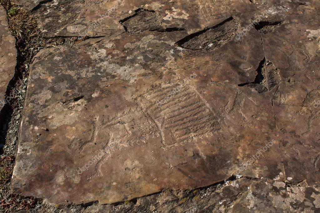 Petroglyphs of the tract Kalbak-Tash in Onguday district, Altai Republic, Russia.