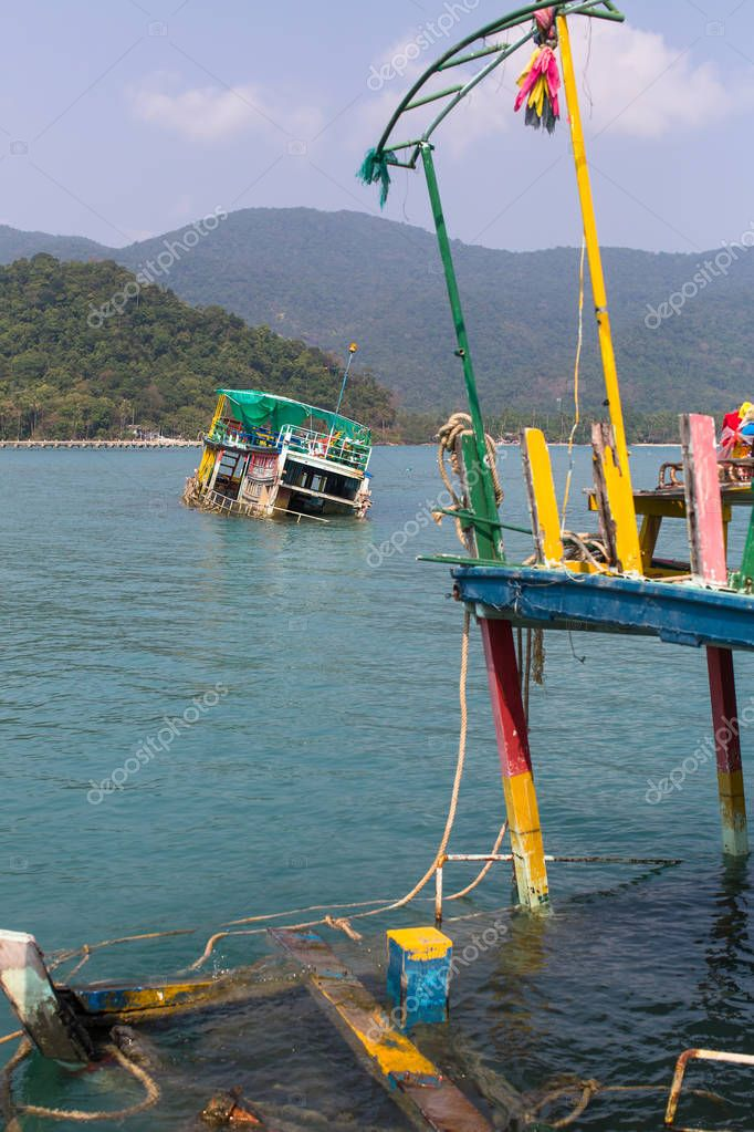 Sunken Thai fishing boats in the Gulf of Thailand.