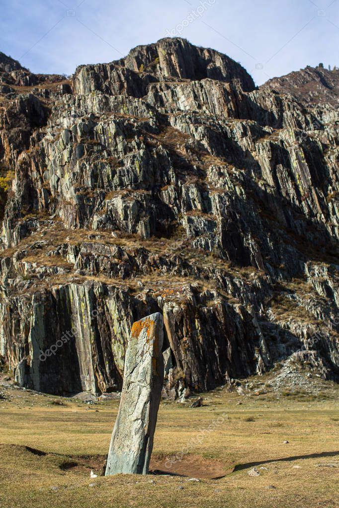 Ancient rocks in the Altai Mountains, Russia.