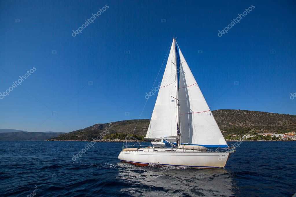 Sailing yacht in the Aegean Sea. Luxury yachts.