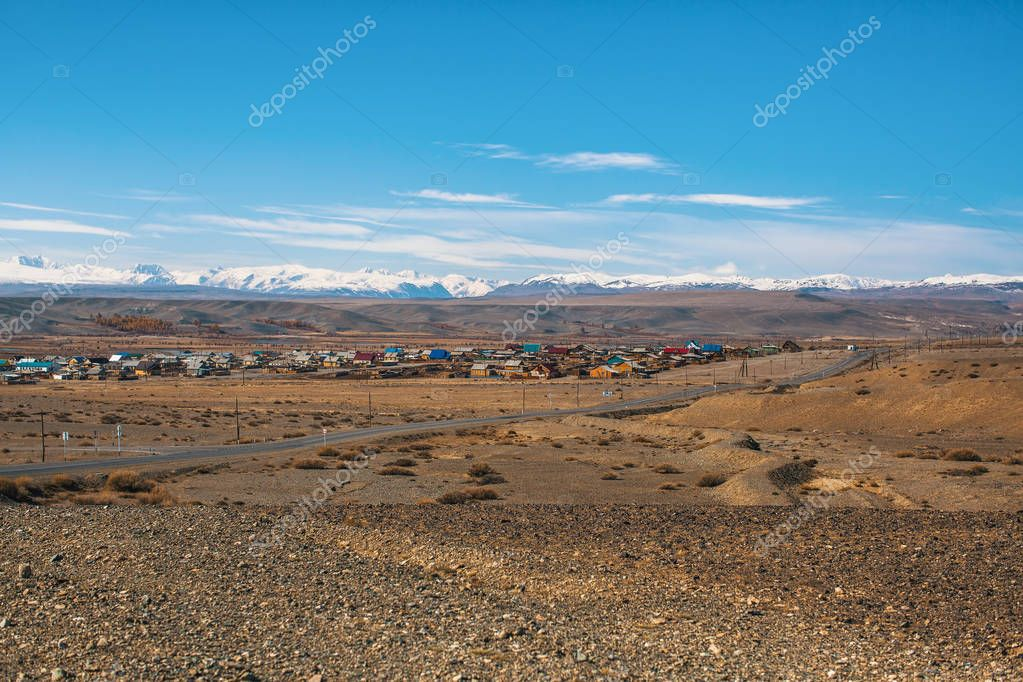 View of the Village in Altai mountains, Russia.