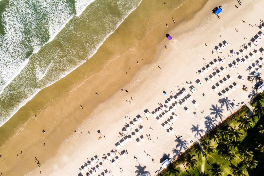 Drone POV of a Crowd Beach