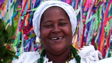 Candomble priestess wearing traditional clothes
