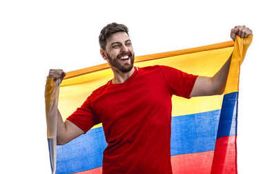 excited male fan holding national flag of Colombia isolated on white background