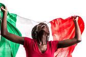 Fényképek afro női rajongó ünnepli Olaszország zászlaja a fehér háttér