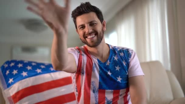 American fan celebrating at home. Go USA!
