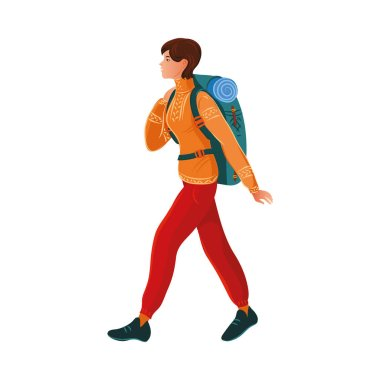 Brown-haired camper girl in the sweater with a backpack. Vector illustration in flat cartoon style.