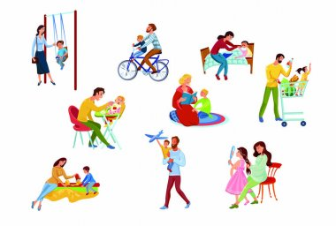 A collection set of happy parents and children spend time together. Doing shopping, reading a book, riding a bicycle . Family time concept. Colorful vector flat isolated icons set on white background. icon