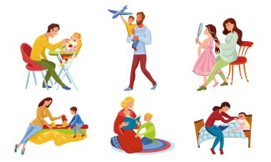 Collection set of happy parents and children spend time together. Family time concept. Isolated icons set illustration on a white background in cartoon style. icon