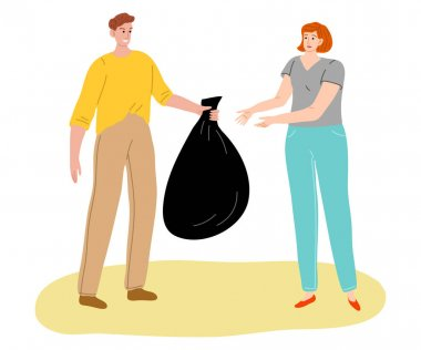 Hand drawn young people collecting and packing garbage in public place over white background vector illustration. Recycling and eco-friendly lifestyle concept icon