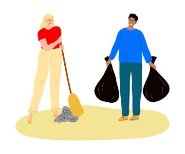 Hand drawn young people collecting and packing garbage in bags in public place over white background vector illustration. Recycling and eco-friendly lifestyle concept icon