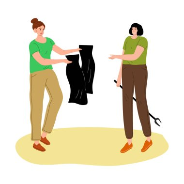 Hand drawn young women collecting and packing garbage in black bags in public place over white background vector illustration. Recycling and eco-friendly lifestyle concept icon