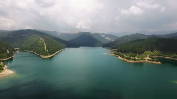 Aerial view over lake and mountains 3