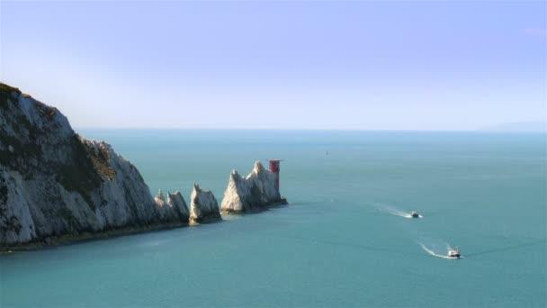 Skalní útvar jehly na Isle Of Wight Anglie Velká Británie