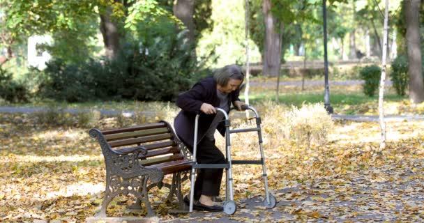 Donna maggiore con il camminatore alzarsi dalla panchina e passeggiate allaria aperta nel parco di autunno. La persona viene fuori fuoco.