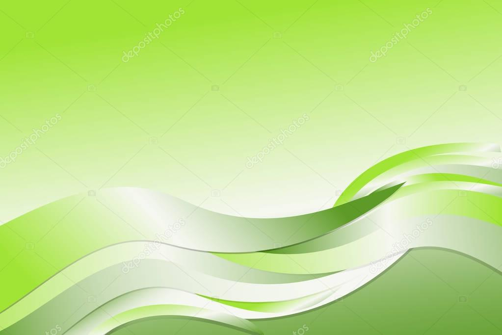 Green Gradient Abstract Line And Wavy Background Stock