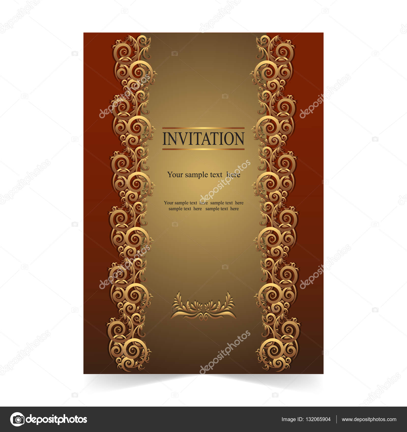 Invitation Card Greeting Card Wedding Card Gold Background
