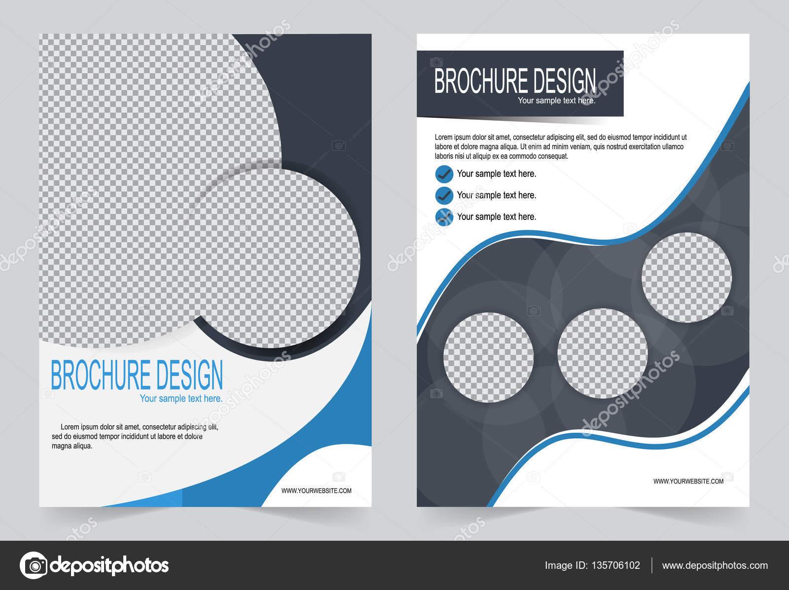 Plantilla de Brochure, Flyer diseño plantilla gris y azul — Vector ...