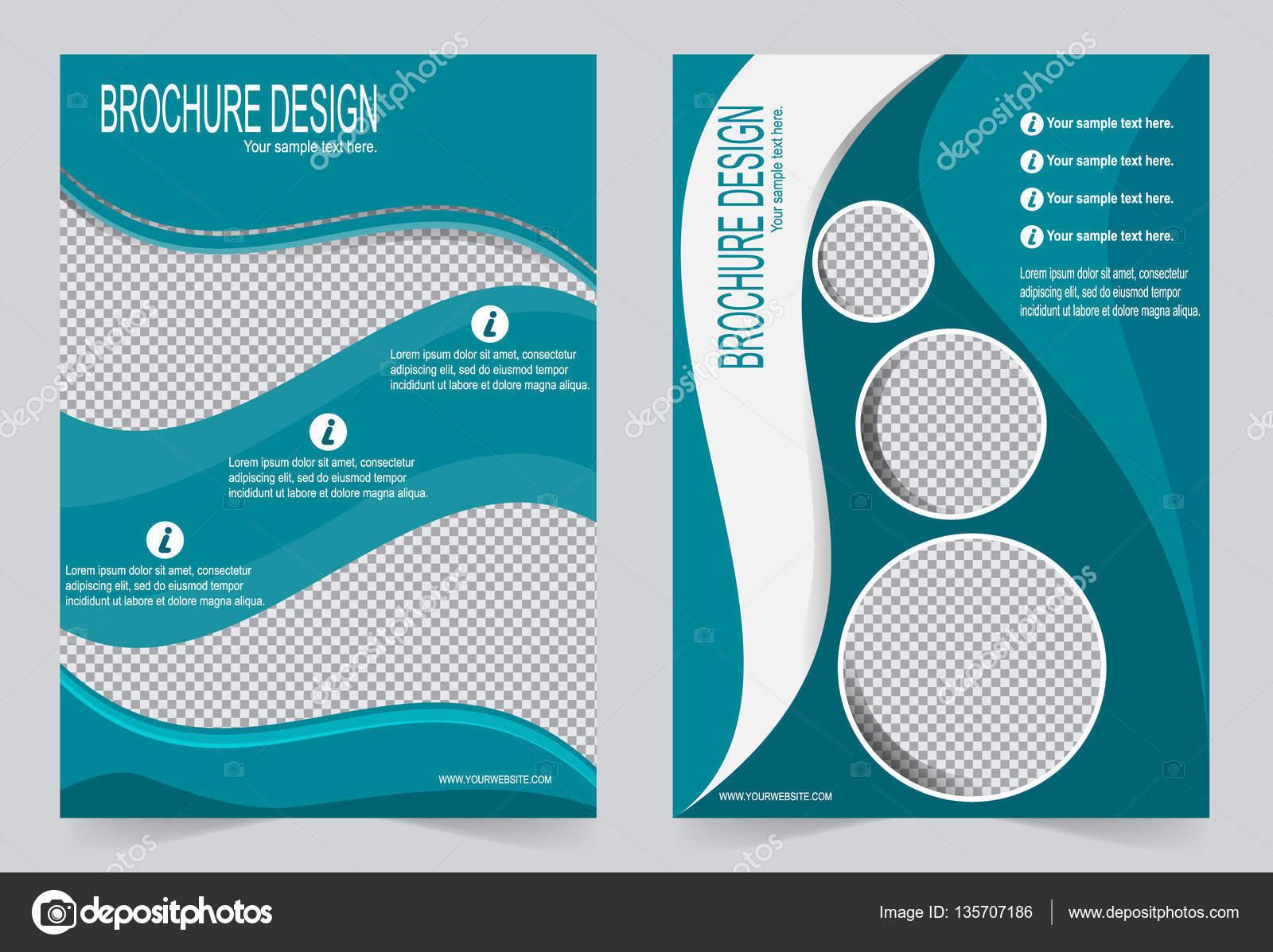 brochure template flyer design green template stock vector