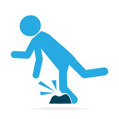 Man tripping over on floor, person injury symbol
