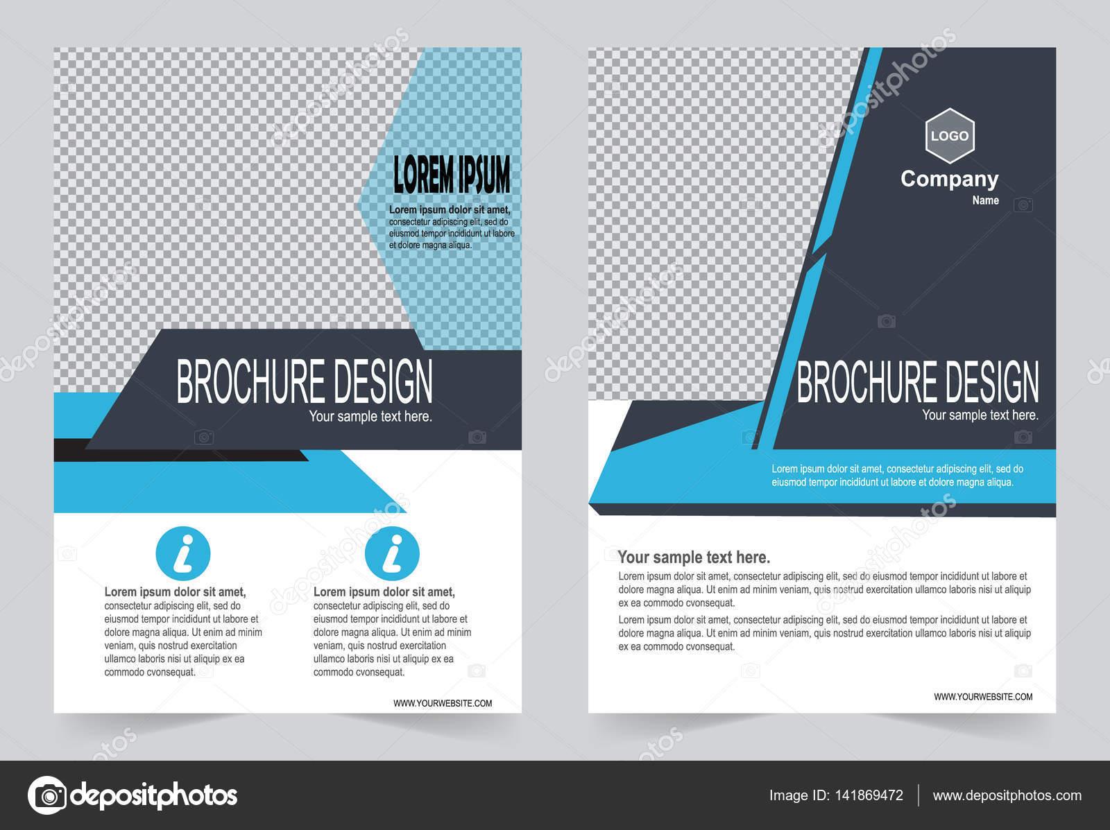 Broschüre Vorlage, Flyer Design Blau und grau Farbe Vorlage ...