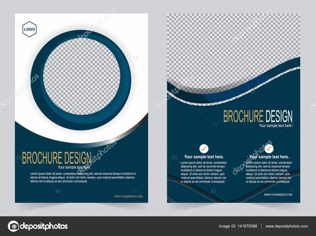 brochure template flyer design navy blue template stock vector