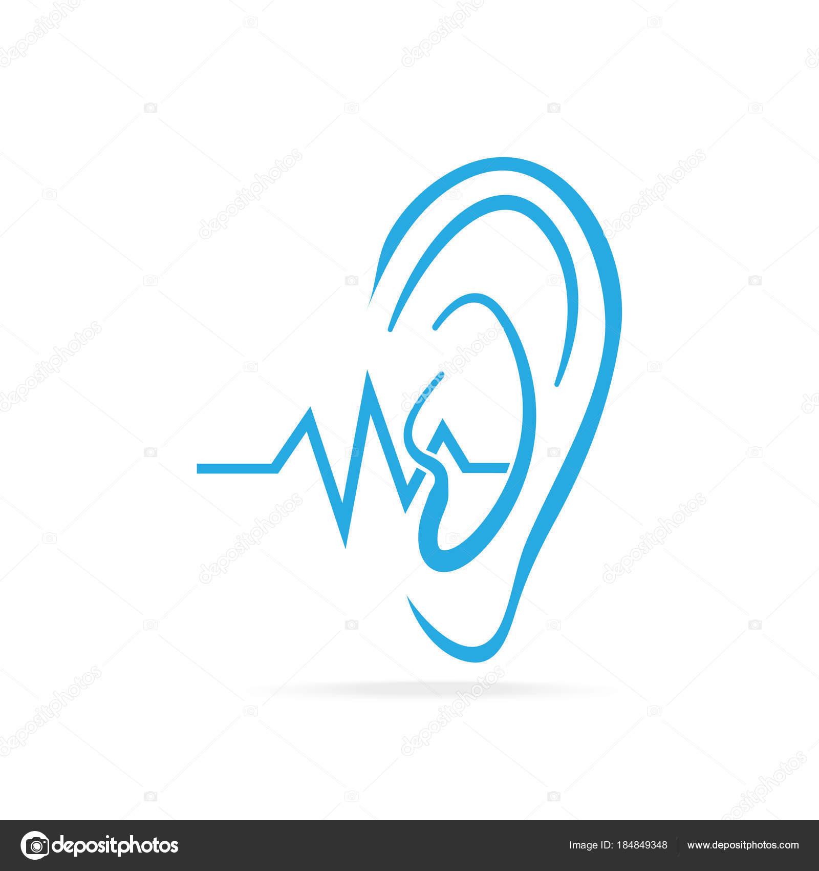 Taube-Symbol, Gehör und Ohr blaue Symbol, Behinderung, Symbol zu ...