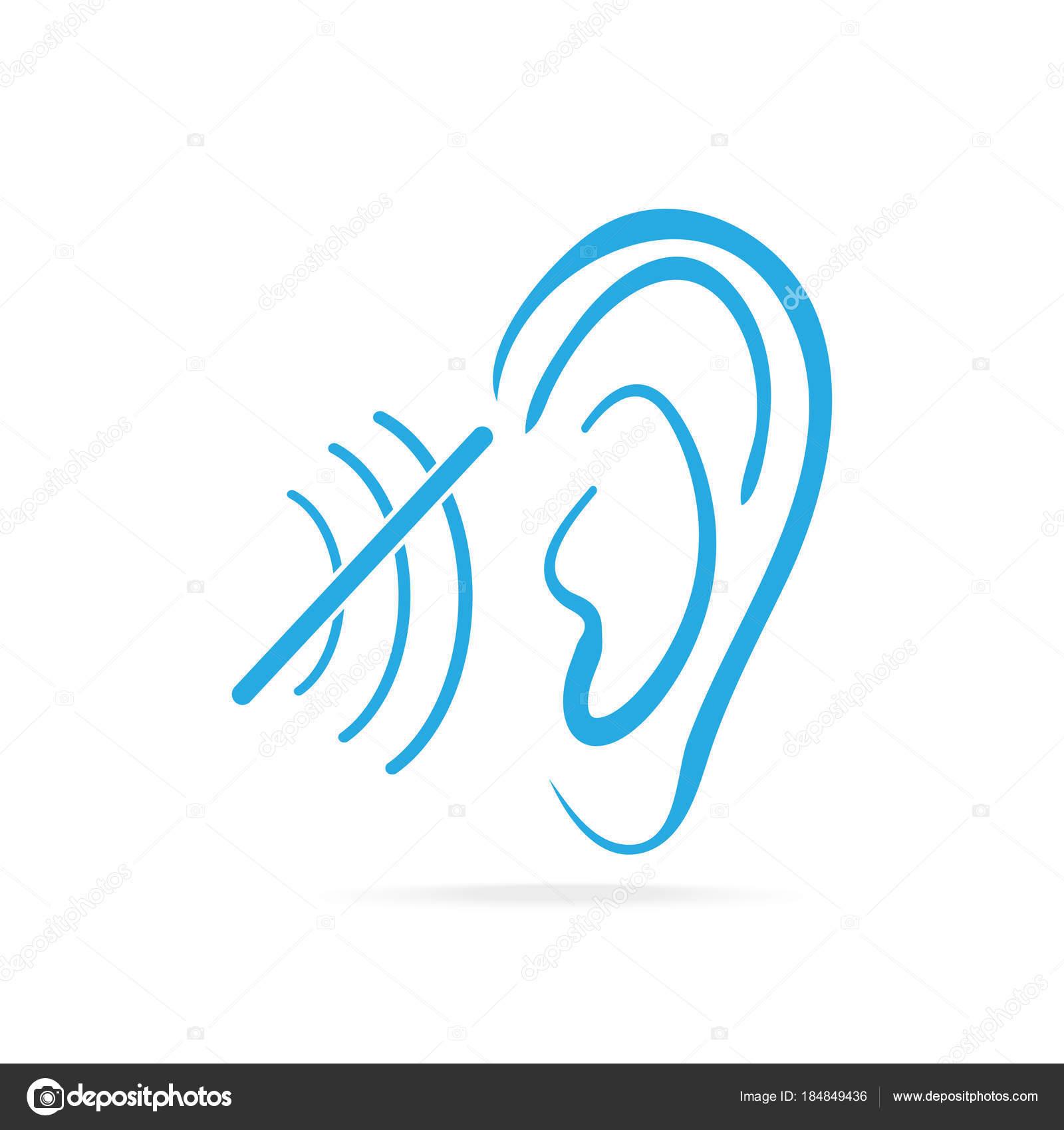 Behinderung, blaues Symbol, Taube-Symbol, Symbol Gehör und Ohr zu ...