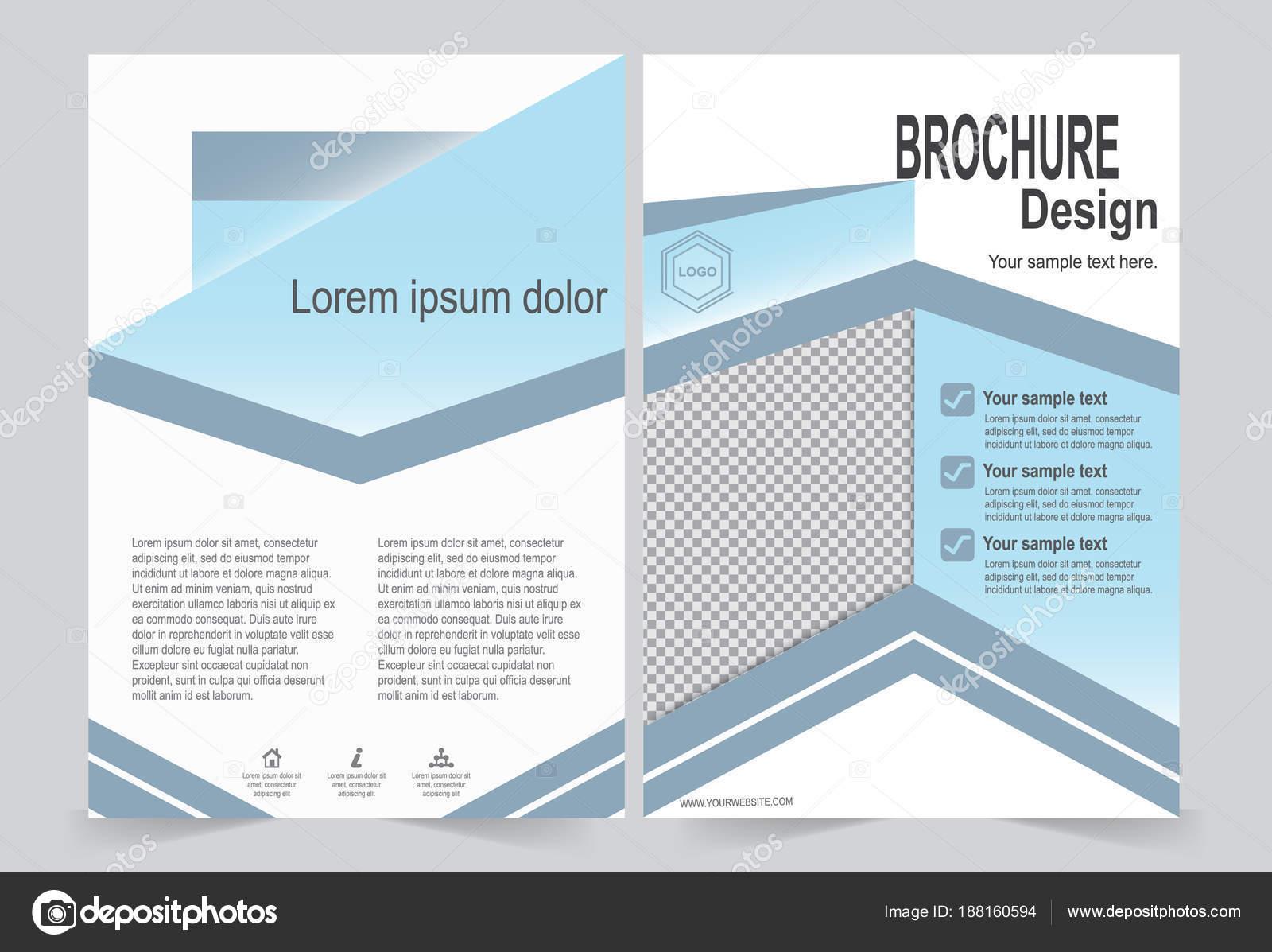 Blaue Broschüre Vorlage Flyer Design, vorne und hinten Vorlage für ...