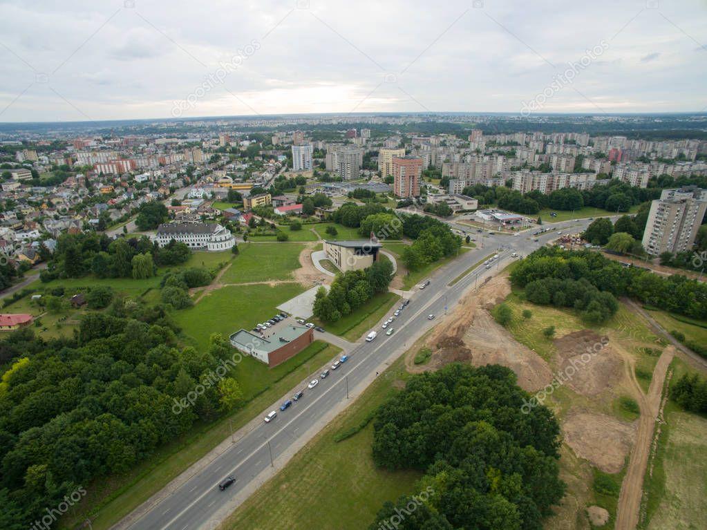 Eiguliai district aerial view in Kaunas Lithuania