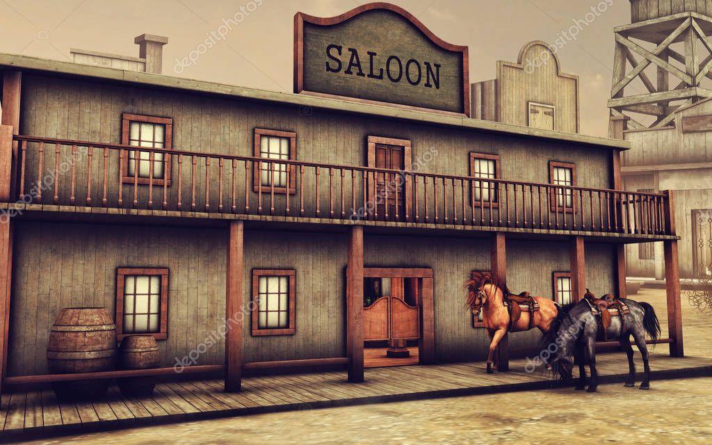 wild west saloon und pferde stockfoto fairytaledesign 128927254. Black Bedroom Furniture Sets. Home Design Ideas