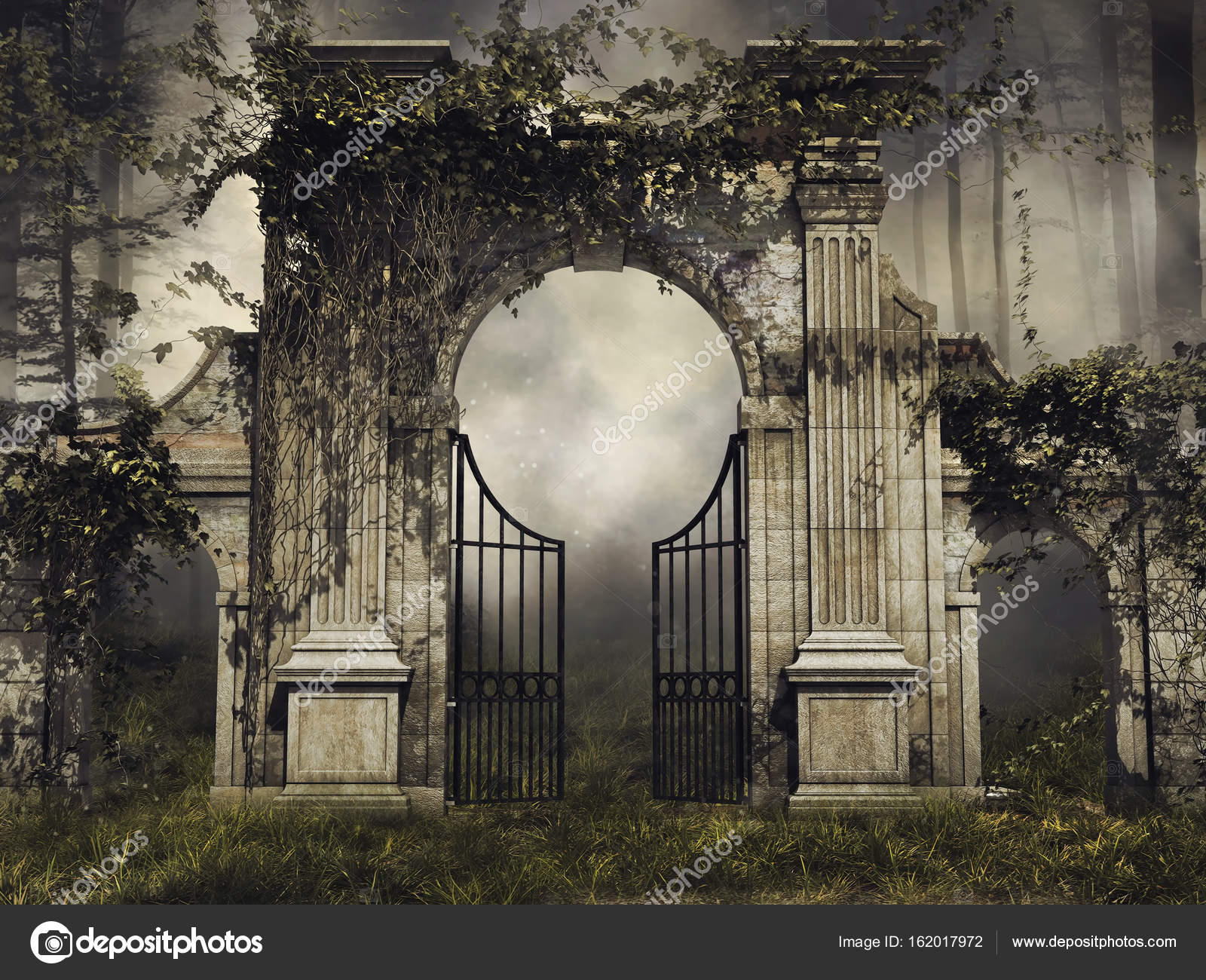 Superieur Dark Scenery With A Gothic Garden Gate And Vines In A Forest U2014 Photo By  FairytaleDesign