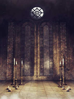 Gothic crypt with candelabras